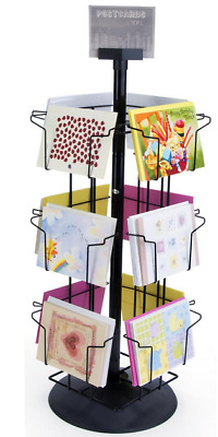 Black 12 Horizontal Pocket Rotating 5 x 7 Greeting Card Counter Display Carousel
