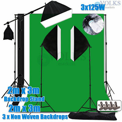 Photography Softbox Boom Arm Continuous Lighting 2x3M Backdrop Support Stand Kit