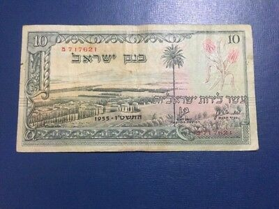 Lira Israel Bank 10 Lira Original Vintage Rare 1955 Serial Number Good Condition