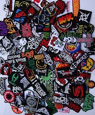 Random Lot of 25 Rock Band Patches Iron on Music Punk Roll Heavy Metal Sew DIY