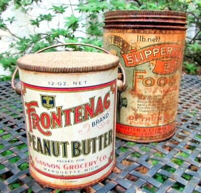 Antique Tole Tin Frontenac Peanut Butter Tin With Orig Litho + Slippery Elm Tin