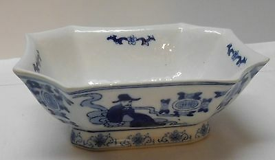 Asian Bowl Blue and White Footed Eight Sided Man Knife Woman Bats Marked Vintage