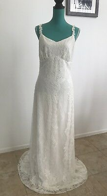 CLAIRE PETTIBONE Romantique Womens Ivory ADELAIDE Lace Wedding Dress 12 NEW