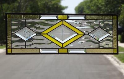 """• Mellow Yellow •Beveled Stained Glass Window Panel-24 ½"""" x 8 ½""""(62x21Cm)"""