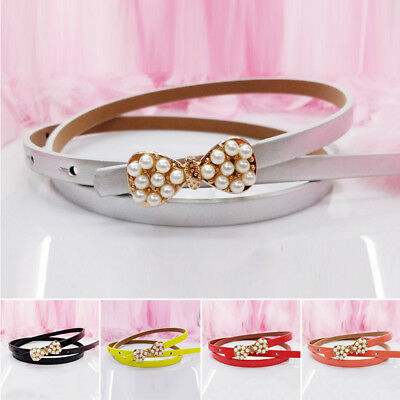 Waistband Pu Color Leather Baby Buckle Girls Kids Elastic Belt Boys Thin Skinny