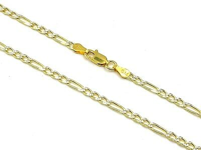14k Gold over 925 Sterling Silver Figaro Diamond cut chain Necklace Italy d17