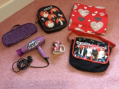 One Direction Job Lot of Items Mug Bags Single Bed Cover Hair Drier Toiletry Bag