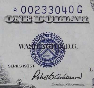 $1 1935F Star UNC silver certificate *G00233040G series F, FREE SHIPPING