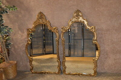 Vintage Pair of Ornate Italian Renaissance Style Wall Mirrors