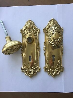 Victorian Solid Brass Gatco Backplates with Door Knobs (4pcs. Total)