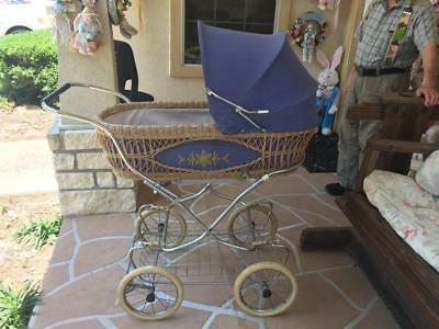 **vintage European Baby Carriage Most** Charming Gold Trim, Wicker, Canvas**
