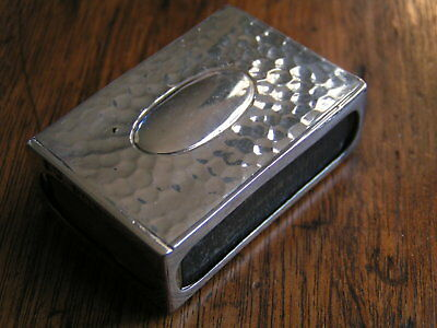 English Sterling Matchbox Cover Handhammered Birmingham 1902 W/matchbox No Mono