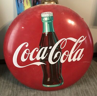36 Inch 1951 CocaCola Enamel Button Sign great deal