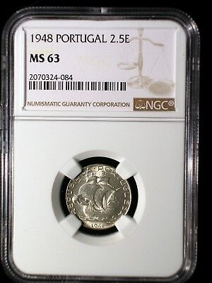 Portugal 1948 2.5 Escudos *NGC MS-63* 2-1/2 Escudos Low Mintage Key Date