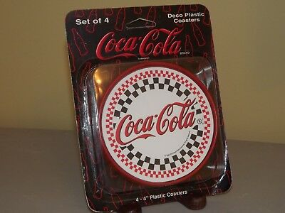 1996 Coca Cola Checkered Red and Black Deco Plastic Coasters 4 in. Set of 4 MIP