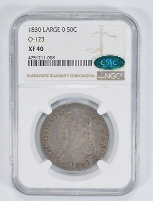 XF40 CAC 1830 Capped Bust Half Dollar - Large 0 - NGC Graded *9269