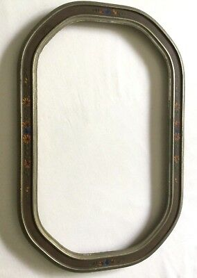 Fine Vintage Antique Oval Picture Frame w/ Hand Painted Florals