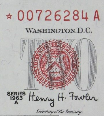 $2 1963A Star CU red seal US Note *00726284A series A, two dollar, FREE SHIPPING