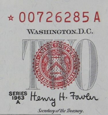 $2 1963A Star CU red seal US Note *00726285A series A, two dollar, FREE SHIPPING