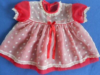 Vintage Baby Dress, Sheer Red with White Overlay, lace for baby or lg. doll