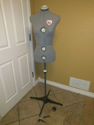SINGER 150 Adjustable Dress Form Mannequin Torso w/ Stand & Hem Gauge Grey NICE