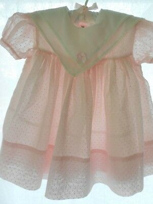 Vtg. Baby Dress, Tiny Town Togs semi sheer Pink Polka Dot  for baby or lg. doll