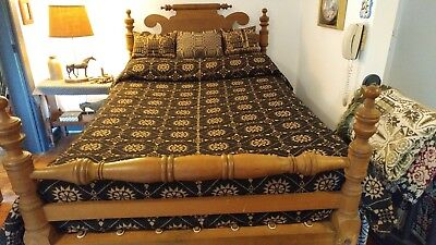"""NEW Family Heirloom Weavers """"1838 Indiana Quaker"""" pattern WOOL coverlet Blk/ tan"""