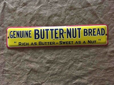 Vintage Genuine Butter-Nut Bread Tin General Grocery Store Advertising Sign