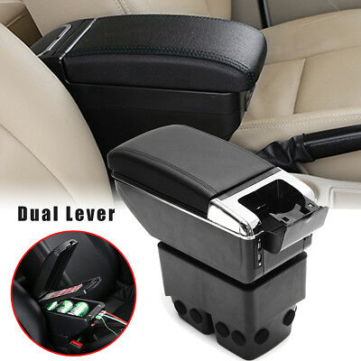 AU Dual Leather Armrest Storage Box Tray Center Console For Ford Fiesta 2011- 17