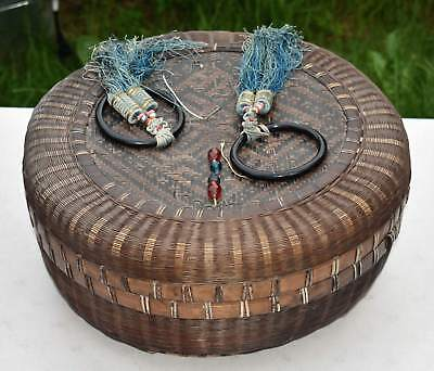 """ANTIQUE Handmade Woven Chinese Sewing BASKET Lidded Large 15"""" Vtg Beads Tassels"""