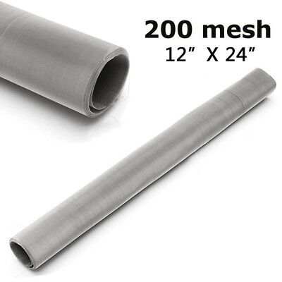 "200 Mesh 75 Micron Stainless Steel Woven Wire Screen Filter Sheet 12x24"" Newest"