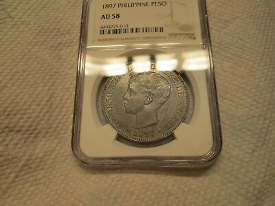 1897 Peso NGC AU 58 Spanish Philippines Toned KM # 154 Alfonso XIII Type Coin