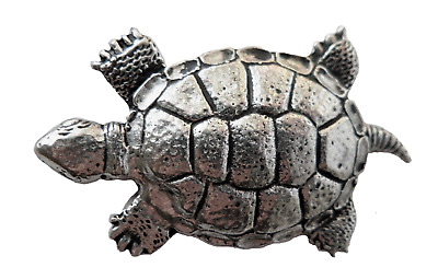 Turtle Pewter Pin Badge - Hand Made in Cornwall - B66