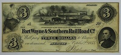 1854 $3 Three Dollar Bill Note Currency Fort Wayne Southern Rail Road Co Muncie