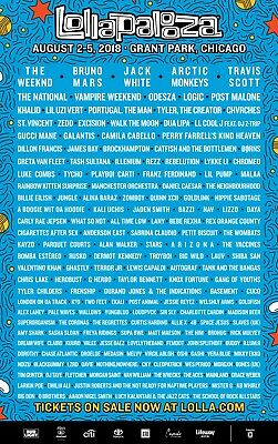 Lollapalooza 2018 4 Day Pass/ Tickets