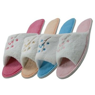 Women's Embroidered Floral Plush House Terry Open Toe Slippers Sizes M L XL New