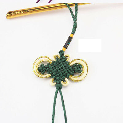 Chinese Knot Feng Shui Fortune Knot Handcraft Knitted Car Bag Ornament Green
