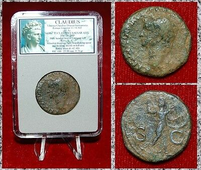 Roman Empire Coin Claudius Minerva With Spear And Shield Claudius On Obverse