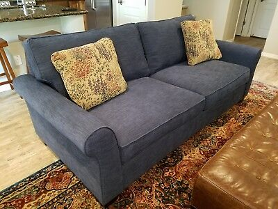 Pottery Barn Pb Comfort Roll Arm Grand Sofa In Navy Tweed