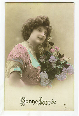 c 1910 French Glamour Glamor PRETTY LADY tinted photo postcard