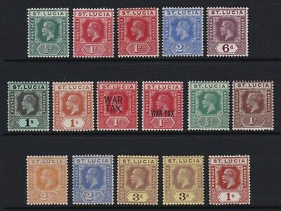 St Lucia KGV selection of 16 x values - lightly mounted / mounted mint £100