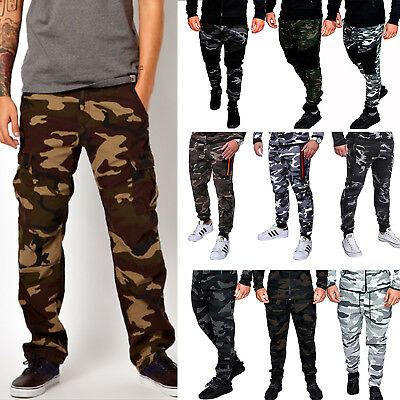 Mens Camo Cargo Pants Casual Combat Military Army Work Trousers Sweatpants M-3XL