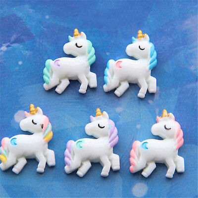 5x Lovely Unicorn Flat Back Resin Cabochon for DIY Phone Embellishment Decor TO