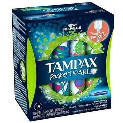 Tampax Pocket Pearl Compact Plastic Tampons, Unscented, Super, 18 ea
