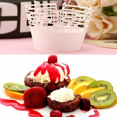 50pcs Laser Cut Cupcake Wrappers Music Notes Muffin Case Cake Paper Cup LinerHA