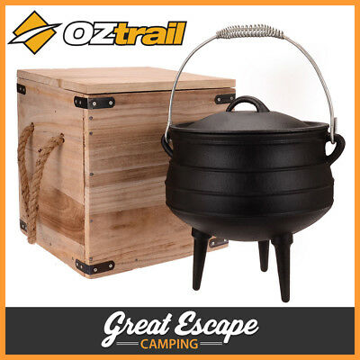 Oztrail Potjie Pot Cooker 8L Heavy Duty Cast Iron Camping