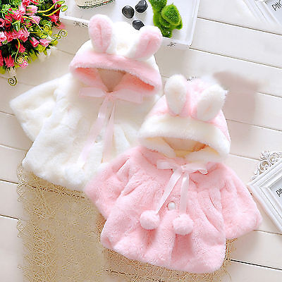 Baby Girl Kids Rabbit Ears Hoodies Coat Clothes Winter Thick Warm Jacket Outwear