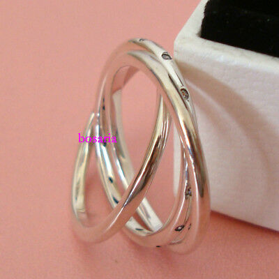 c99a7cdc7 925 STERLING SILVER Swirling Symmetry Ring Clear CZ Charm European ...