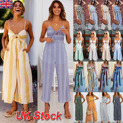 UK Womens Ladies Summer Casual Sleeveless Jumpsuit Beach Holiday Playsuit Club