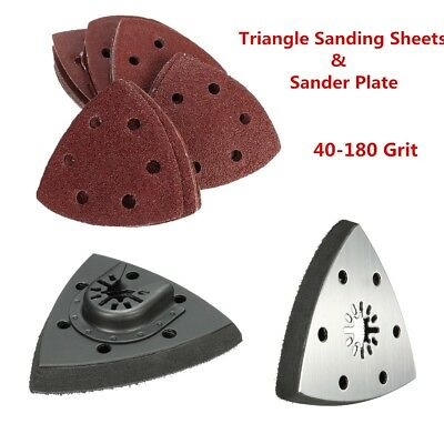 10/50x Triangle Sander Plate Delta Sanding Sheets Paper 40-180 Grit & Saw Blade